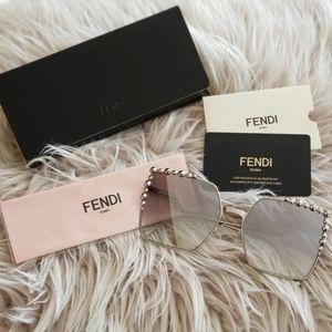 Fendi Oversized Square Sunglasses (Silver)